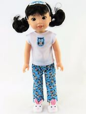 """Owl Pajamas Eyemask Fits Wellie Wishers 14.5"""" American Girl Clothes"""