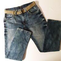 Steve's Jeans Mens Size 32X32 Slim Straight Fit Belted Blue Jeans NWOT