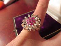 Fantastischer 925 Silber Ring Zirkonia Rubin Rot Rosa Blume Sterling Modern