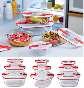 Glass Meal Containers Food Storage Box with Vented Lid Cook and Heat Pyrex