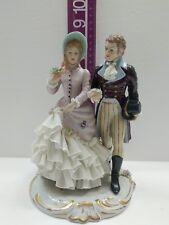 Capodimonte San Marco Figurine Man and Lady Walking Crown N Italy