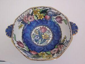 Vintage Maling Blue Thumbprint & Floral Bowl