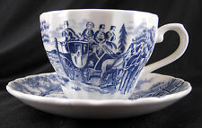 1 MYOTT PATTERN ROYAL MAIL BLUE & WHITE CHURCHILL CHINA TEACUP & SAUCER COLUMBIA