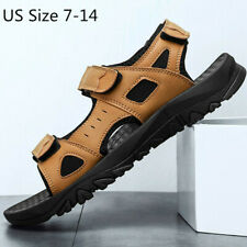 Mens New Leather Outdoor Sports Sandals Beach Walking Hiking Water Shoes Casual