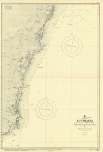 New South Wales coast to Sydney Australia ADMIRALTY chart 1888 (1955) old map