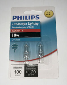 2-Pack Philips 10W 12V Clear G4 Base T3 Halogen Landscape Cabinet Light Bulb