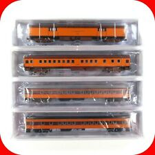 N Scale MILW MILWAUKEE ROAD Passenger Baggage/Coach/Bunk 4-Pack Set - FOX VALLEY