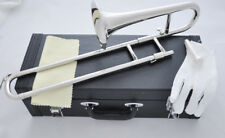 High quality silver nickel Bb SLIDE TRUMPET horn (MINI trombone) with Case