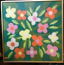 Mid Century Design Needlepoint Finished Tapestry In Gold Frame