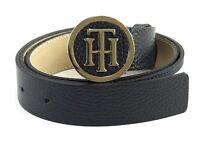 TOMMY HILFIGER TH Round Buckle 3.0 W75 Gürtel Accessoire Corporate Blau Rot Neu