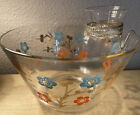 Vintage Glass Chip n Dip Set Retro Flowers w/ Jena Glass in Gold Holder