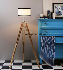 Collectible Teak Wood Tripod FLOOR LAMP Shade Light Fixture Christmas Gift lamp