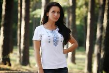 Ukrainian embroidered sorochka, women's t-shirt, vyshyvanka, embroidery, Size S