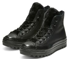 RRP £85 Converse LEATHER Chuck Taylor All Star Faux Fur Boot High Ripple Black
