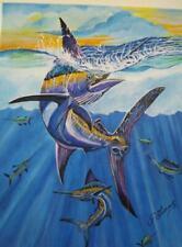 Original Canvas Blue Marlin Fish Swordfish Painting  by Isabel Lucas