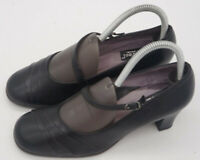 Women's BeautiFeel Black Leather Chunky Heel Mary Jane Pumps Size EU 38 US 8
