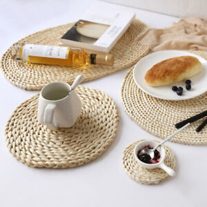 Straw Woven Placemats Round Rattan Table Mats Heat Insulation Pot Cup Coaster