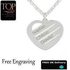 Love Heart Pendant Personalised Necklace Any Names Engraved Silver Jewellery UK