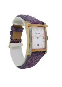 Bulova Diamond Gallery 98R197 Women's Rectangular Analog Lavender Leather Watch