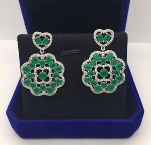 18k White Gold GF Dangle Earrings made w/ Swarovski Crystal Green Emerald Stone