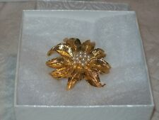 Gold Tone Flower With Cluster Of Faux Pearls In Center Brooch