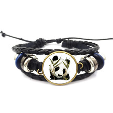 Panda Glass Cabochon Bracelet Braided Leather Strap Bracelet