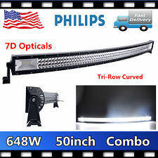 Tri Row 50inch 648W LED WORK LIGHT BAR CURVED DRIVING OFFROAD 7D LENS SLIM 52/54