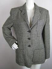Lauren Ralph Lauren Black Ivory Houndstooth Blazer Jacket Coat Wool Womens 10