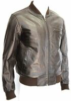 Oliver Mens 70s Bomber Dark Brown Retro Classic Stylish Rock 100% Leather Jacket