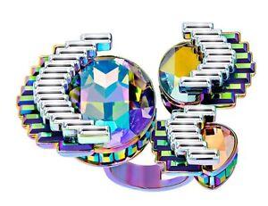 NIB $349 Swarovski Fluorescent Ring AB Crystal Statement Size 55/M/7