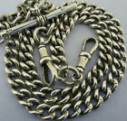Antique Solid Silver Double Albert Pocket Watch or Neck Chain t-Bar 16 &  Inch