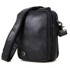 Men's  Genuine Real Cow Leather Messenger Bags Shoulder Bag Handbag Black Travel