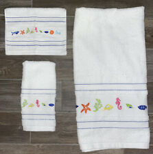 New & Vintage Kassa Fina Set Of 3 Embroidered Coastal Home Collection Towels