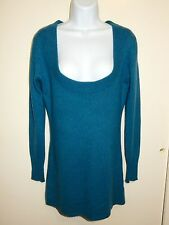 VELVET 100% CASHMERE TEAL WIDE & DEEP U-NECK LONG SLEEVES TUNIC DRESS SWEATER P