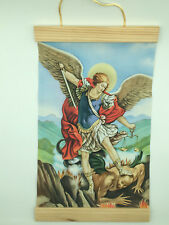 Image of St. Michael in color, Canvas Wall Print, 8x12 Beige Background
