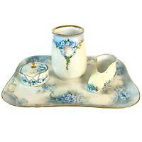 Lot/4 Limoges, Etc Blue Forget-me-nots Vanity Tray, Vase, Shoe & Trinket Dish