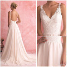 A-Line Beach Wedding Dresses Deep V-Neck Backless Lace Bridal Gowns Custom