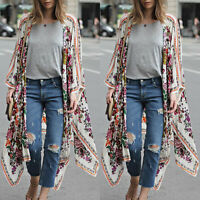 Women's Floral Loose Kimono Cardigan Boho Beach Chiffon Tops Coat Long Blouse