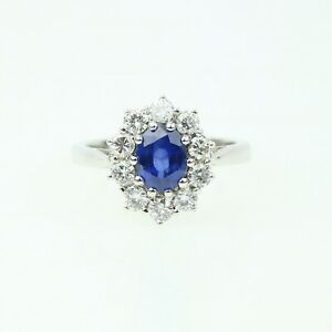 "Vintage 18ct White Gold Diamond & Sapphire 'Lady Diana"" Cluster Ring"