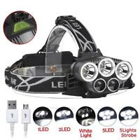 T6 5 LED 90000Lm Headlamp Rechargeable USB Fishing 2 Blue Light Torch JS