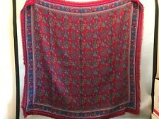 """Vintage Women's Scarf Red Paisley Large 34"""" X 35"""" Cotton Square"""
