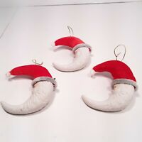 Lot of 3 PORCELAIN HALF MOON SANTA FACE WITH RED VELVET HAT 5""