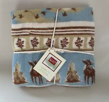 """New Old Stock Woolrich Soft Throw Blanket Cabin Lodge Moose 50"""" x 68"""""""