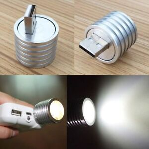 2W Portable Mini USB LED Spotlight Lamp Mobile Power Flashlight Silver
