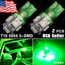 2X US Green T10 192 194 168 LED Car Interior & License tag Light 5 SMD 5050 Bulb