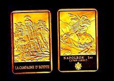 ★★★ MAGNIFIQUE LINGOT PLAQUé OR ● NAPOLEON ● EN EGYPTE SUR UN CHAMEAU ★★★★