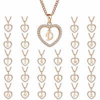 A-Z Gold Tone 26 INITIAL LETTER A-Z Love Pendant Necklace Men Chain Women Ladies