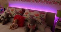 LED Headboard Light Set In Pink Standard Bed Sizes 9v Battery Remote Option