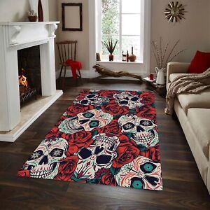 Rose and Skull Rug, Fan Carpet Non Slip Floor Carpet,Teen's Rug