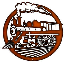 440 Train Engine Cut Out Faux Copper Finish Metal Sign 14.5x14.5 RVG302C